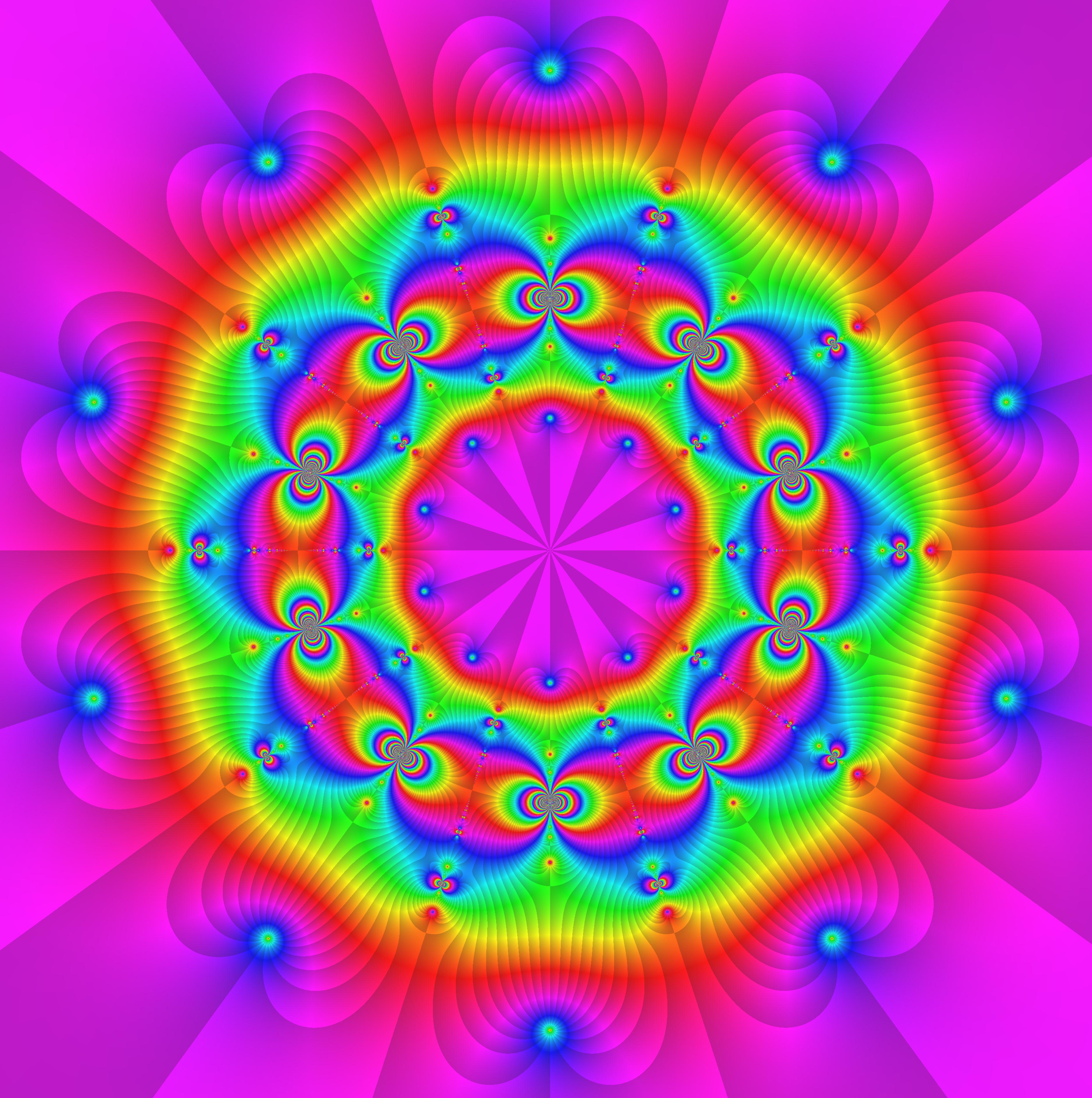 Abb.:  5-3 - 1     f = cos(cot((z ^2  + phi ^k) / (z ^2 - phi ^k)))) , k=0:4, ^i , phi=exp(2pi*i/5) .